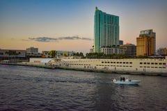 Panoramablick von Tampa-Kunstmuseum-, Riverwalk- und Hillsborough-Fluss auf Sonnenunterganghintergrund in Stadtzentrum 2 lizenzfreie stockfotos