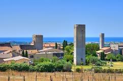 Panoramablick von Tarquinia. Lazio. Italien. stockbild