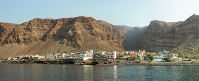 Panoramablick von Tarrafal, Insel Sao Nicolau, Kap-Verde Lizenzfreies Stockfoto