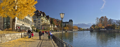 Panoramablick von Thun-Stadt switzerland lizenzfreie stockbilder