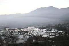 Panoramablick von Yuanyang-Reis-Terrassen Stockfotos
