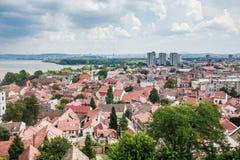 Panoramablick von Zemun Belgrad Serbien lizenzfreie stockfotos