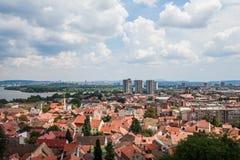 Panoramablick von Zemun Belgrad Serbien stockbild