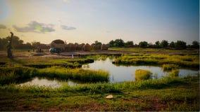 Panoramablick zu Bkonni-Dorf von Hausaleuten, Tahoua, Niger Lizenzfreie Stockfotos