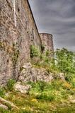 Panoramablick zu Gjirokastra-Schloss mit der Wand, Gjirokaster, Albanien stockfoto