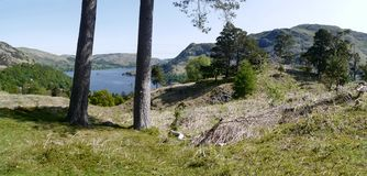 Panoramablick zu Ullswater, See-Bezirk Lizenzfreies Stockbild