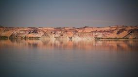 Panoramablick zur Teli Seegruppe Ounianga Serir Seen beim Ennedi, Tschad lizenzfreie stockbilder