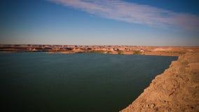 Panoramablick zur Yoa Seegruppe Ounianga-kebir Seen beim Ennedi, Tschad lizenzfreie stockbilder