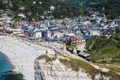 Panoramablicke berühmten Dorf d'Etretat August 27,2013 Stockfoto