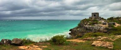 Panoramablicke der karibischen Küste nahe dem Wachturm im Th Stockbild