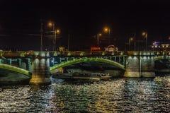 Panoramablicke des Flusses Neva zum Hochschuldamm Lizenzfreie Stockfotos