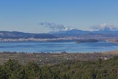 Panoramablicke von Ioannina See, Epirus Stockbild