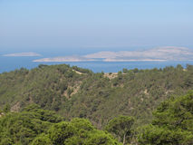 Panoramablicksüdufer Rhodos stockbild