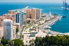 Panoramacityscape luchtmening van Malaga, Spanje stock fotografie