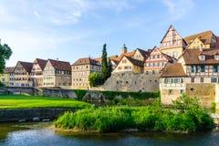 Panoramacityscape van Schwäbisch-Zaal in Baden-Wuertemmberg in Duitsland stock foto