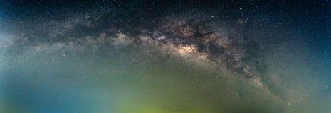 Panoramadetalj av Vintergatangalaxen Arkivbilder