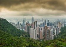 Panoramafoto av för Hong Kong för hög upplösning dramatisk horisont stad Arkivbild