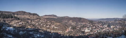 Panoramafoto von Banska Stiavnica, Slowakei Lizenzfreie Stockfotografie