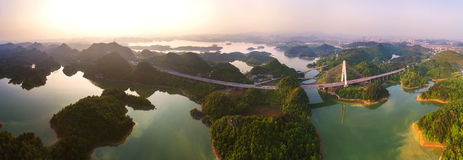 The panoramagram of Hongfen Lake Bridge Stock Image