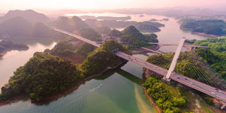 The panoramagram of Hongfen Lake Bridge Stock Photography