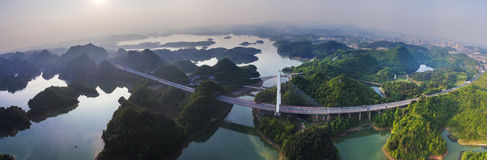 The panoramagram of Hongfen Lake Bridge Royalty Free Stock Photos