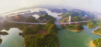 The panoramagram of Hongfen Lake Bridge Stock Images