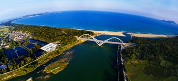 The panoramagram of the  sun river brige Stock Image