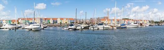 Panoramahafen Hellevoetsluis, die Niederlande Stockbild