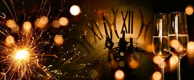 Panoramahintergrund des neuen Jahres Stockfotografie