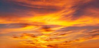 Panoramahintergrund-OS-Dämmerungshimmel und Federwolkewolken Stockfotografie