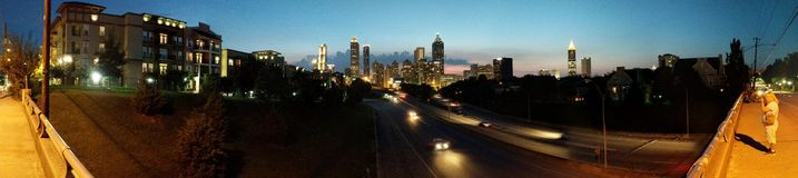 Panoramahorizon bij schemer, Atlanta Royalty-vrije Stock Afbeelding