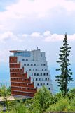 Panoramahotell på Strbske Pleso, höga Tatras, Slovakien Royaltyfri Bild