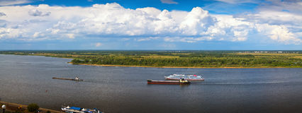 Panoramai view from the steep banks of the Volga Stock Photos