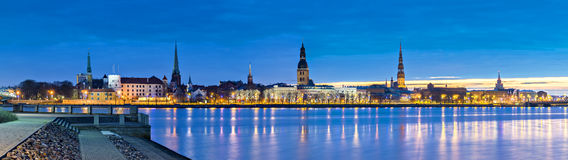 Panoramaic view on old city of Riga , Latvia, Europe Stock Image