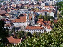 Panoramaic view from the Slossberg hill in Graz. View of the historic city Graz in Austria with the Church of Our Lady of Succor (Mariahilferkirche Stock Photography