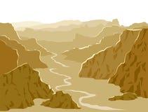 Panoramaillustration Landschaft mit enormem gelbem mountai Stockfotografie