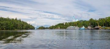 Panoramaklosterfjärd Valaam iseland Royaltyfria Foton
