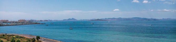 PanoramaLa Manga del Mar Menor Murcia, Spanien Sandy Beach Line arkivfoton