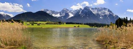 Panoramalandskap i Bayern med fjällängberg royaltyfria bilder