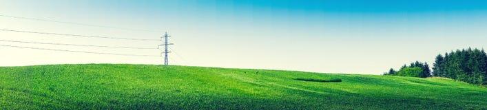 Panoramalandskap med pyloner och gräsplanträd Royaltyfria Foton