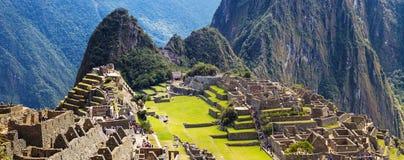 PanoramaMachu Picchu borttappad stad av Inkas som är ny Fotografering för Bildbyråer