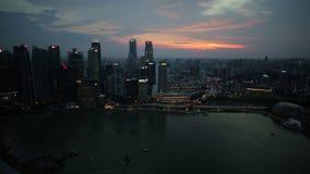 Panoramamarinafjärd Singapore arkivfilmer