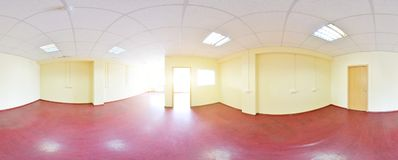 360 panoramamening in modern leeg flatbinnenland, graden naadloos panorama Royalty-vrije Stock Afbeelding