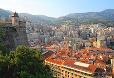Panoramamening over het district van Le Condamine in Monaco Stock Afbeeldingen