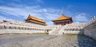 Panoramamening over paviljoen, Paleismuseum Verboden Stad, Peking, China stock afbeelding