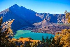 Panoramamening van Berg Rinjani van Indonesië Stock Foto's