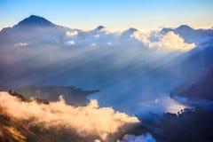 Panoramamening van Berg Rinjani, vulkaan bij Lombok-eiland van I Royalty-vrije Stock Afbeelding