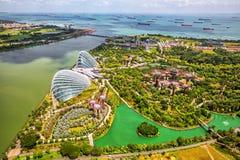 Panoramamening van de Stadshorizon van Singapore in Singapore royalty-vrije stock foto's