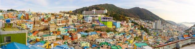 Panoramamening van Gamcheon-Cultuurdorp, Busan, Zuid-Korea royalty-vrije stock foto