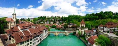 Panoramamening van historische oude stadsstad Bern Royalty-vrije Stock Afbeeldingen